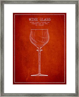 Wine Glass Patent From 1986 - Red Framed Print by Aged Pixel