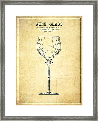 Wine Glass Patent From 1986 - Vintage Framed Print by Aged Pixel