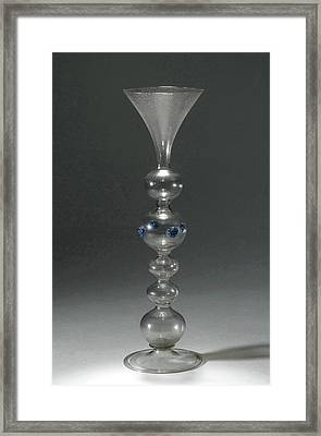 Wine Glass With A Hollow Stem With Five Balls Framed Print by Quint Lox
