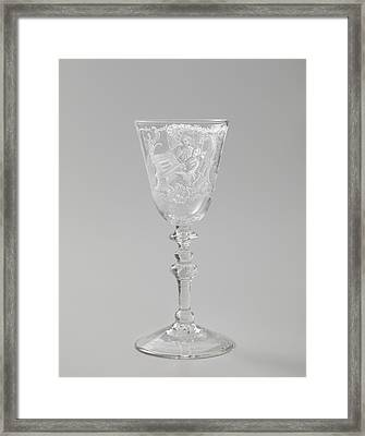 Wine Glass With A Woman Behind A Spinet, Anonymous Framed Print by Quint Lox