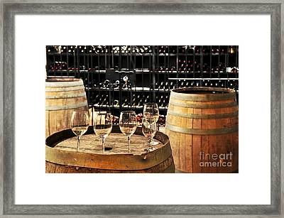 Wine Glasses And Barrels Framed Print