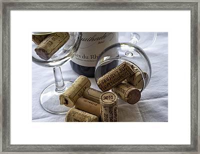 Wine Glasses And Corks  Framed Print by Georgia Fowler