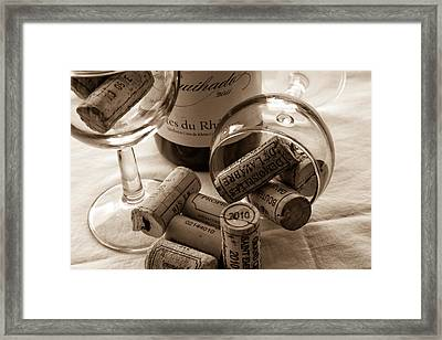 Wine Glasses And Corks Toned Framed Print