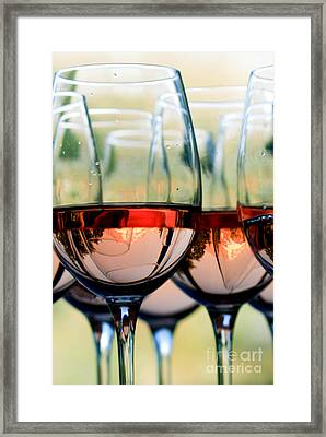 Wine Glasses Filled With Mount Hood Framed Print by Cari Gesch