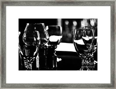 Wine Glasses On Table Framed Print