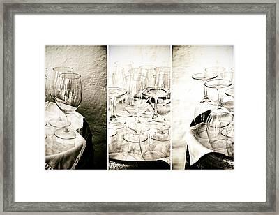Wine Glasses Triptych Framed Print by Georgia Fowler