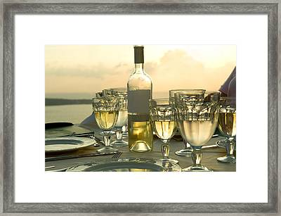 Wine Glasses With A Wine Bottle Framed Print by Panoramic Images