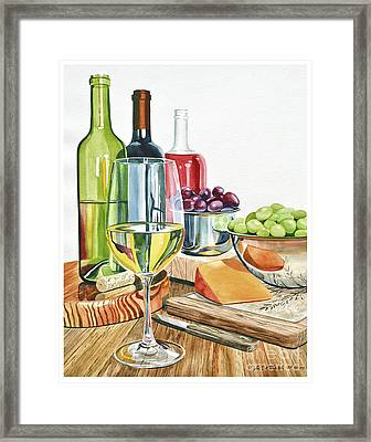 Wine Grapes And Cheese Framed Print