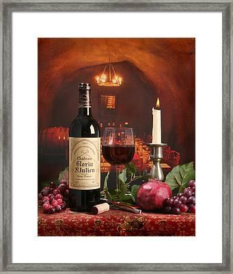 Wine In Le Cav Framed Print by Mel Felix