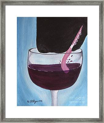 Wine Is Best Shared With Friends - Black Dog Framed Print
