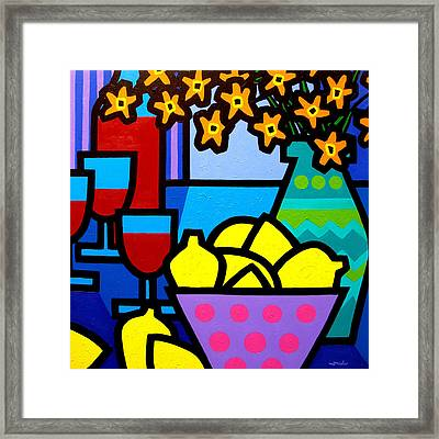 Wine Lemons And Flowers Framed Print by John  Nolan
