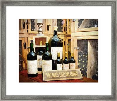 Wine Makes Everyone Hopeful Framed Print