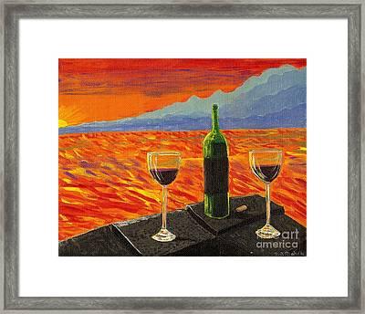 Wine On Sunset Terrace Framed Print by Vicki Maheu