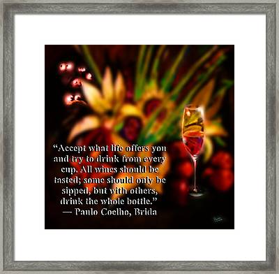 Wine Or Not Wine Framed Print by Marcello Cicchini