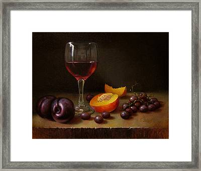 Wine Peach And Plums Framed Print by Timothy Jones