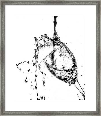 Wine Pour Splash In Black And White 2 Framed Print by JC Kirk