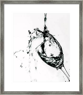 Wine Pour Splash In Black And White Framed Print by JC Kirk