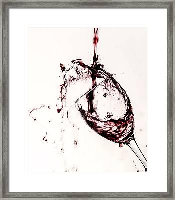 Wine Pour Splash In Color 2 Framed Print by JC Kirk
