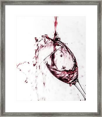 Wine Pour Splash In Color Framed Print by JC Kirk