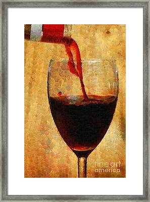 Wine Pouring Into Glass Painting Framed Print
