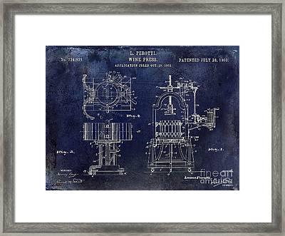 Wine Press Patent 1903 Blue Framed Print by Jon Neidert