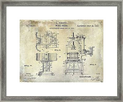 Wine Press Patent 1903 Framed Print by Jon Neidert