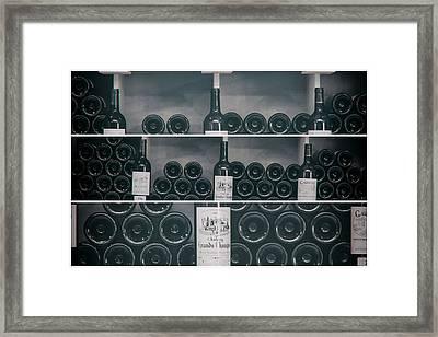 Wine Shelf Collage Framed Print