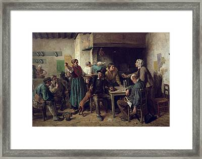Wine Shop Monday, 1858 Oil On Canvas Framed Print by Jules Breton