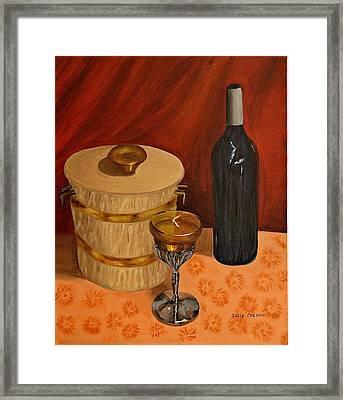 Bottle Of Wine On The  Table Framed Print