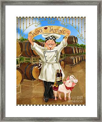 Wine Tasting Chef Framed Print by Shari Warren