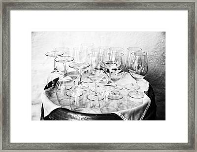 Wine Tasting Glasses In Black And White Framed Print by Georgia Fowler