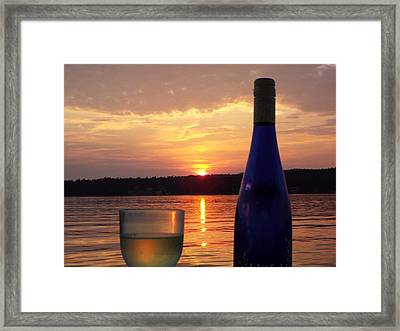 Wine Water Sunset Framed Print by Cindy Croal