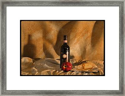 Wine With An Apple And Cheese Framed Print by Paulette B Wright