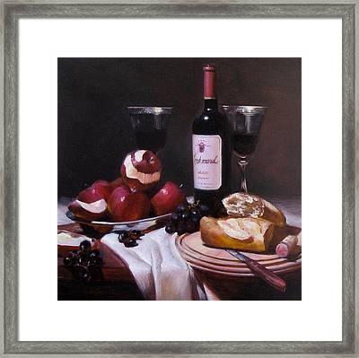 Wine With Peeled Apples Framed Print by Takayuki Harada