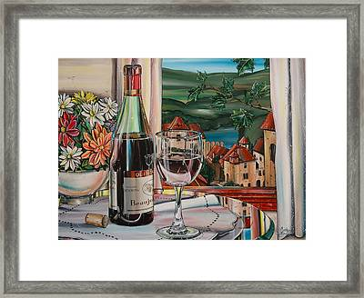 Wine With River View Framed Print by Anthony Mezza
