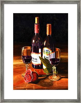 Wine With Rose Framed Print by Douglas Castleman