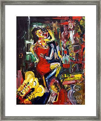 Wine Woman And Music Framed Print