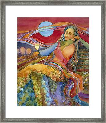 Wine Woman And Song Framed Print by Jen Norton