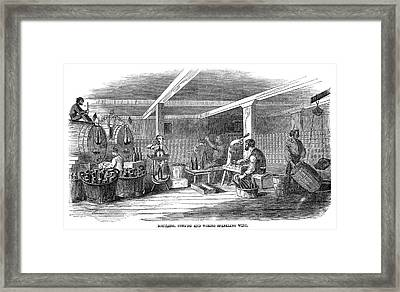 Winemaking Bottling, 1866 Framed Print by Granger
