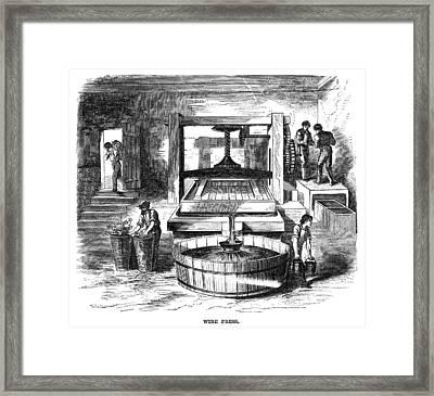 Winemaking Press, 1866 Framed Print by Granger