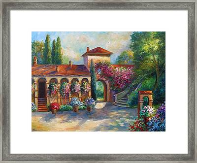 Winery In Tuscany Framed Print by Regina Femrite