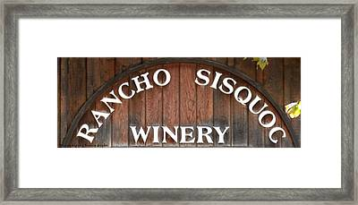 Winery Sign Framed Print by Barbara Snyder