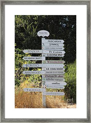 Winery Street Sign In The Sonoma California Wine Country 5d24601 Framed Print by Wingsdomain Art and Photography