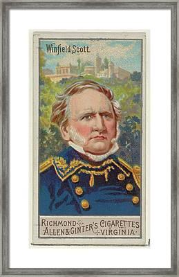 Winfield Scott, From The Great Generals Framed Print by Allen & Ginter