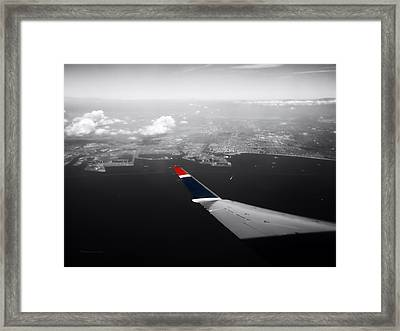Wing Tip View Over Long Beach Ca Sc Framed Print