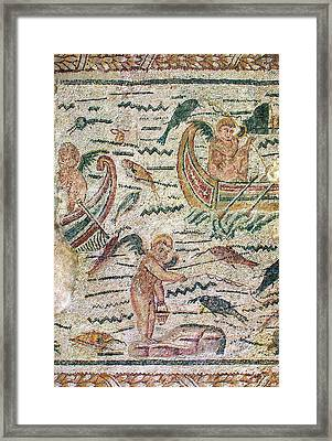 Winged Cupids Fishin Framed Print