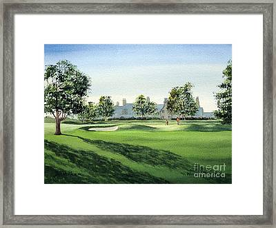 Framed Print featuring the painting Winged Foot West Golf Course 18th Hole by Bill Holkham