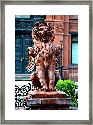 Winged Lion Fountain Framed Print by Tara Potts