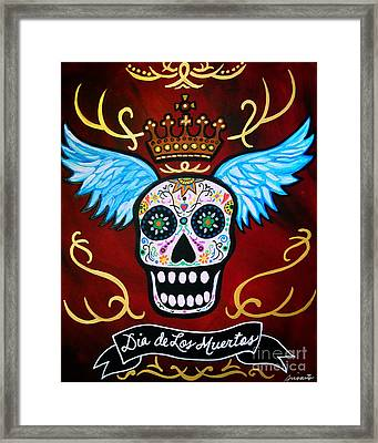 Framed Print featuring the painting Winged Muertos by Pristine Cartera Turkus