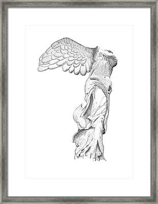Winged Victory Of Samothrace Framed Print by Steven Tomadakis